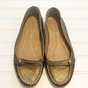 J.Crew Gold Leather Loafers Size 7